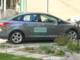 HOPE Massage Therapy vehicle can be see parked on the road outside of many places in Woodstock: Caressant Care Nursing and Retirement Home; Cedarview Gracious Retirement Living; Christian Horizons Horizon House I & II; Oxford Gardens; Woodingford Lodge; Woodstock and District Development Services Group Home.