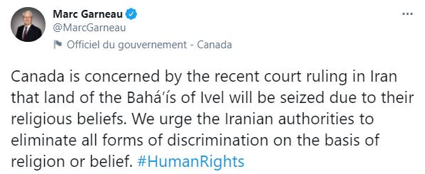 Uma mensagem postada no Twitter pelo ministro canadense das Relações Exteriores, Marc Garneau.