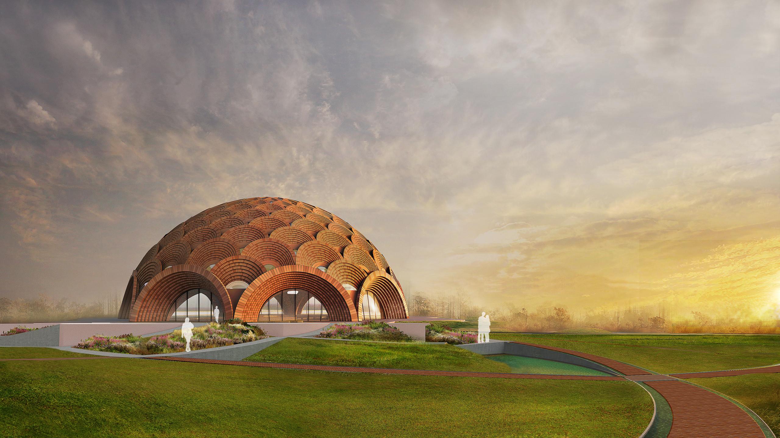 O desenho da nova Casa de Adoração Bahá'í em Bihar Sharif divulgado  pela Assembléia Espiritual Nacional dos Baha'is da Índia.