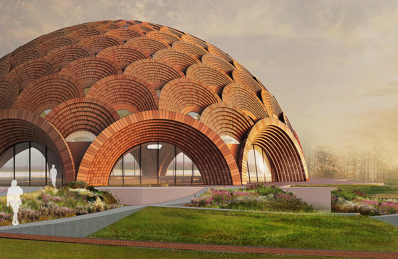 O edifício se erguerá a partir de nove arcos na base, que se multiplicam até que cada segmento pareça fundir-se em uma única geometria.