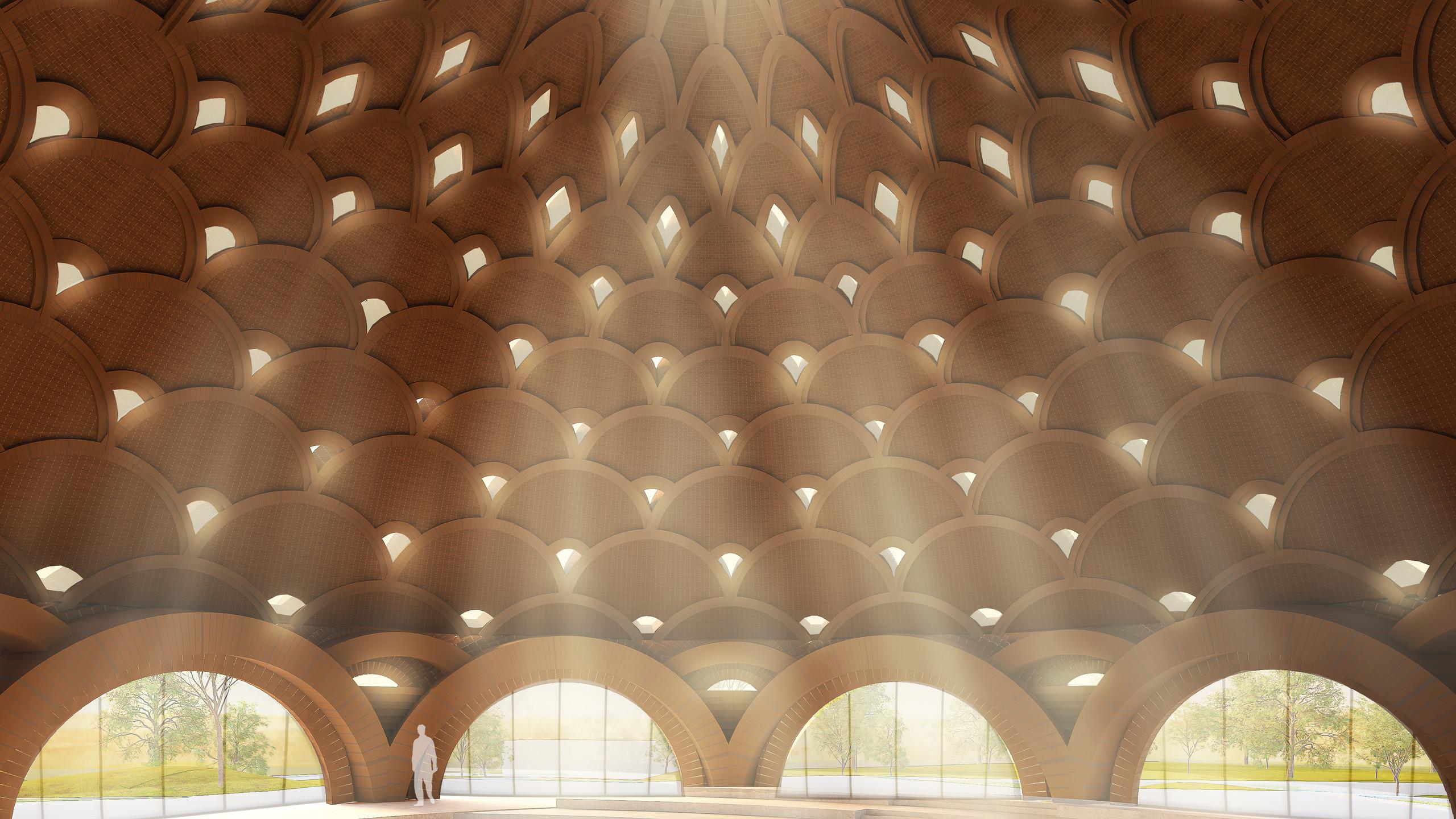 As aberturas no centro do domo e em cada anel de arcos ajudarão a reduzir o peso do teto e permitirão a entrada de uma luz suave.