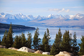 Views over Lake Pukaki from above The Re