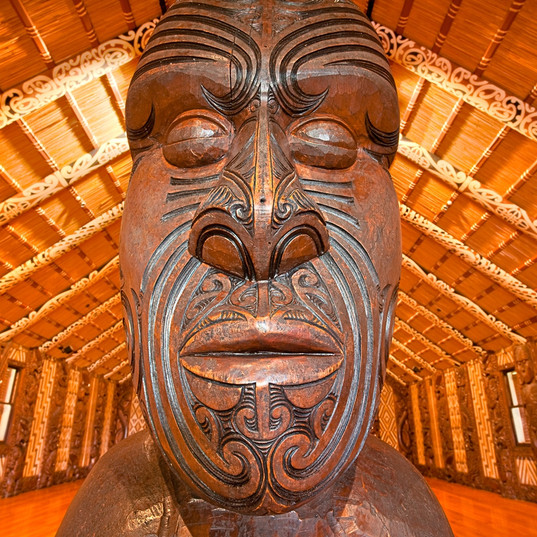 Waitangi Treaty Grounds Inside the carved Meeting House