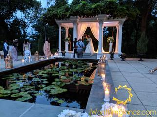 Pergola wedding ceremony Drapes set up