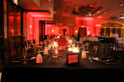 Red uplighting for a wedding reception at the Sheraton National Hotel in VA
