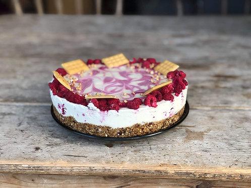 Raw White Chocolate and Raspberry Cheesecake