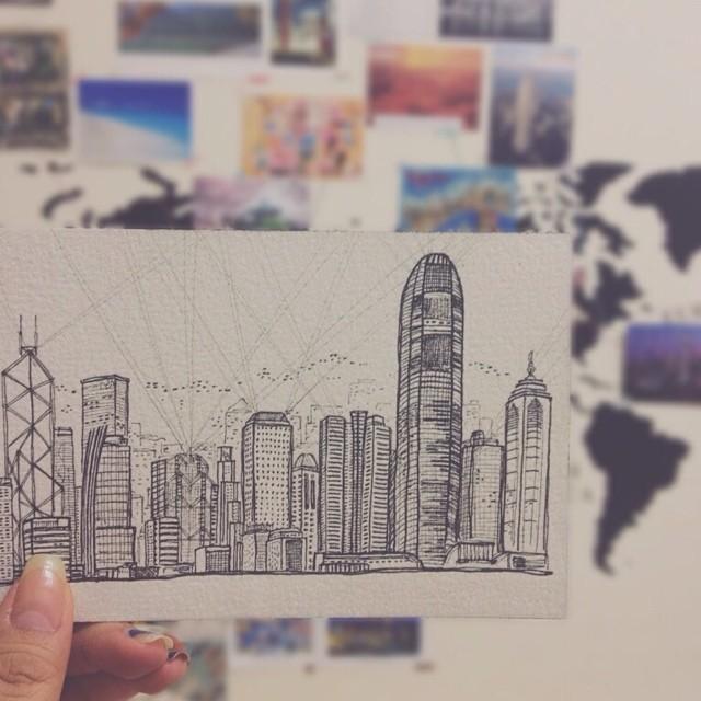 Instagram - 多年前去的香港 那是我第一次自助旅行 #handpainted #postcard #手繪 #明信片 #香港 #維多利亞港 #diary