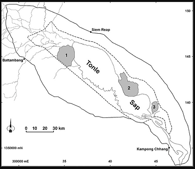 Map of Tonle Sap Biosphere Reserve, Cambodia. Solid line denotes boundary of transition zone, and buffer zone is encompassed by dashed line. Core areas are shaded and numbered (1. Prek Toal, 2. Moat Khla-Boeng Chhmar, 3. Stoeng Sen).