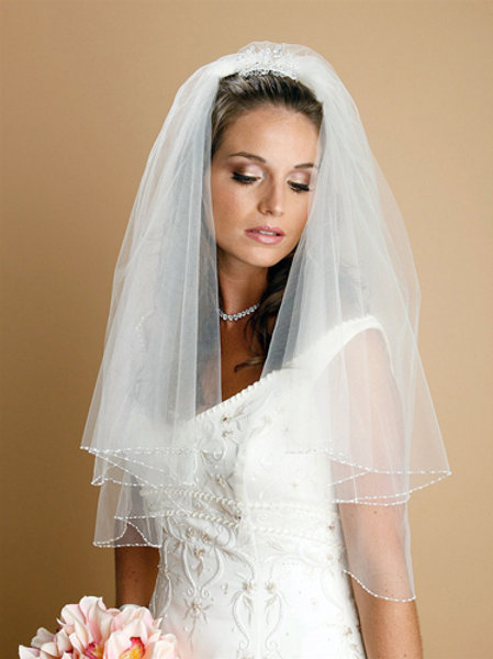 2-Tier Elbow Length Beaded Veil