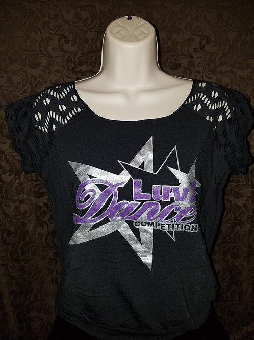 Mesh Off Shoulder Luv 2 Dance T-Shirt