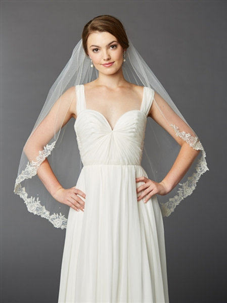 Silver Scalloped Lace Fingertip Veil