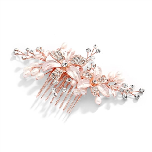 Rose Gold Floral Comb