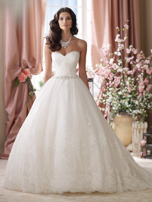 Lace Wedding Gowns, Strapless Embroidered Lace And Tulle Ball Gown Wedding  Dress, Sweetheart Neckline With Eyelash Trim, Soft Embroidered Lace Bodice  ...