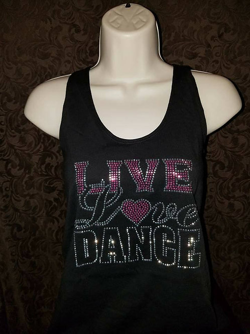 Rhinestone Live Love Dance Tank