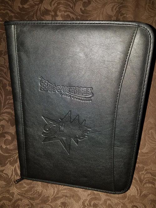 Dual Logo Embossed Leather Portfolio Large