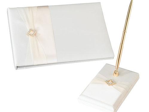 Ivory Diamond Guest Book Set