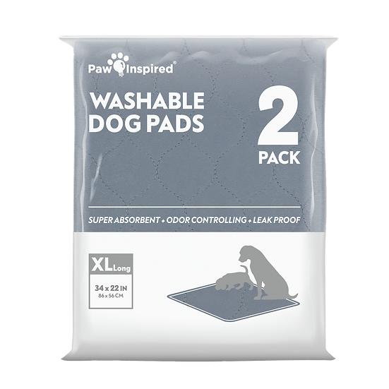 "2ct Paw Inspired Washable Pee Pads for Dogs, XL-Long (34"" x 22""), Puppy Tr"