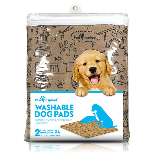 2ct Paw Inspired XL Extra Large Washable Pee Pads for Dogs, Puppy Training Pads