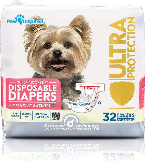 32ct Paw Inspired Ultra Protection Female Disposable Dog Diapers