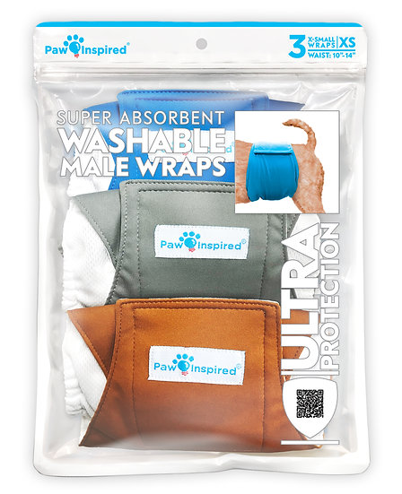 3ct Paw Inspired Ultra Protection Washable Male Wraps (Belly Bands)