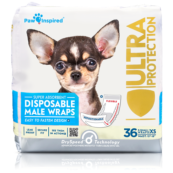 36ct Paw Inspired Ultra Protection Disposable Male Wraps (Belly Bands)