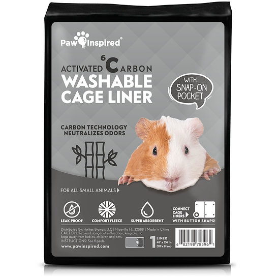 """1ct Paw Inspired Washable Guinea Pig Cage Liners (47""""x 24""""(Midwest) with Pocket)"""