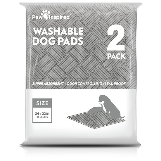 """2ct Paw Inspired Washable Pee Pads for Dogs, XL-Long (34"""" x 22""""), Puppy Tr"""