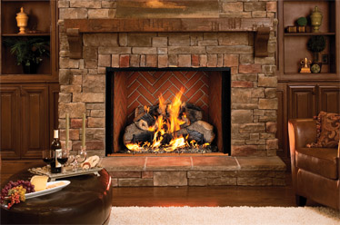 Astria Estate 50 Prefab Wood Fireplace with Warm Red Herringbone Brick