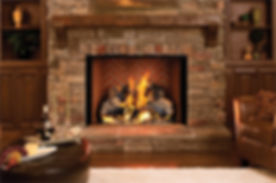 Astria Estate 50 Prefab Wood Fireplace with Warm Red Herringbone Brick