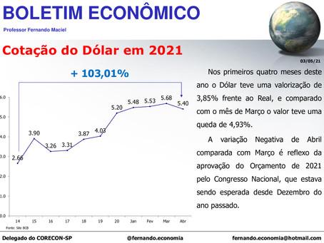 Boletim Econômico - Cotação do Dólar em 2021, por Fernando Maciel