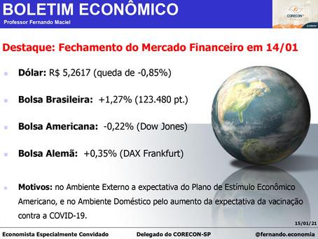 Boletim Econômico: Fechamento do Mercado Financeiro em 14/01, por Professor Fernando Maciel