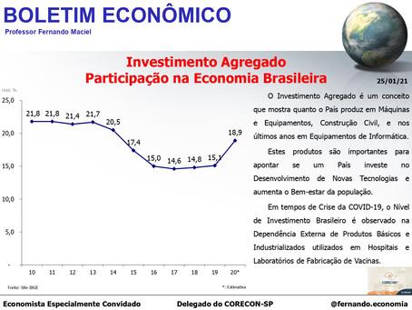Boletim Econômico: Investimento Agregado Participação na Economia Brasileira, por Fernando Maciel