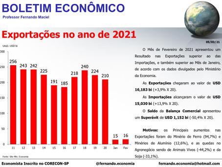 Boletim Econômico - Exportações no ano de 2021, por Fernando Maciel