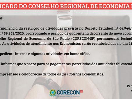 Comunicado Corecon-SP: Quarentena - Covid-19