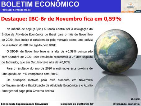 Boletim Econômico: IBC-Br de Novembro fica em 0,59%, por Professor Fernando Maciel