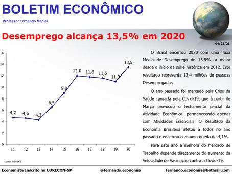 Boletim Econômico - Desemprego alcança 13,5% em 2020, por Fernando Maciel
