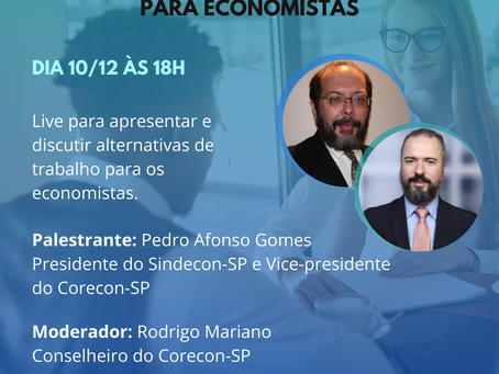 LIVE: Oportunidades profissionais para os Economistas, por Pedro Afonso Gomes