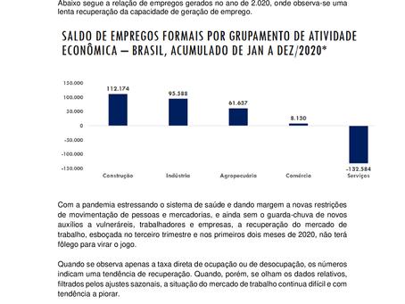 Nota Econômica Semanal: Setor de Serviços tem pequena recuperação de vagas em 2.020