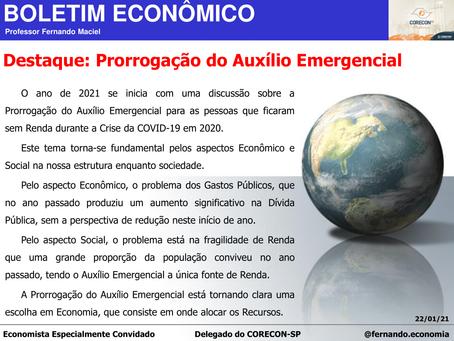 Boletim Econômico: Prorrogação do Auxílio Emergencial, por Fernando Maciel
