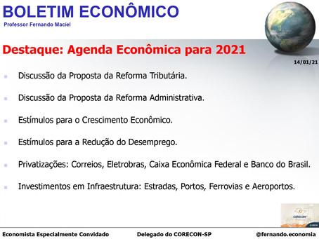 Boletim Econômico: Agenda Econômica para 2021, por Professor Fernando Maciel