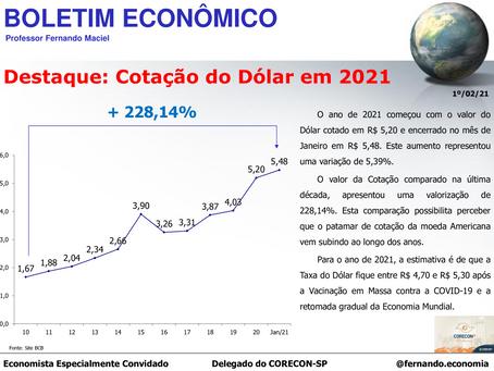 Boletim Econômico: Cotação do Dólar em 2021, por Fernando Maciel