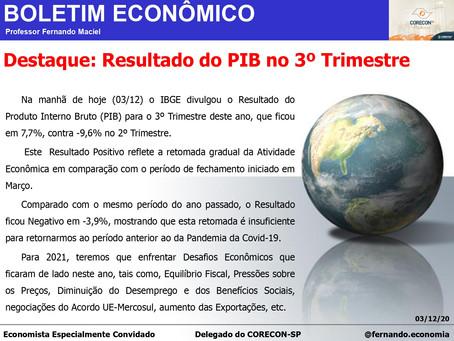 Boletim Econômico – resultado do PIB no 3º trimestre, por Fernando Maciel