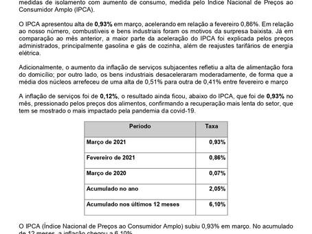 Nota Econômica: Inflação tem elevação no Setor de Serviços em Março, por Carlos Eduardo Junior
