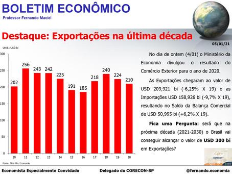 Boletim Econômico: Exportações na última década, por Professor Fernando Maciel
