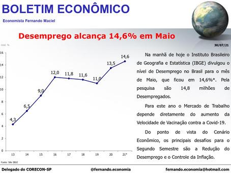 Boletim Econômico - Desemprego alcança 14,6% em Maio, por Fernando Maciel