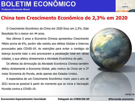 Boletim Econômico: China tem Crescimento Econômico de 2,3% em 2020, por Professor Fernando Maciel