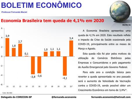 Boletim Econômico - Economia Brasileira tem queda de 4,1% em 2020, por Fernando Maciel