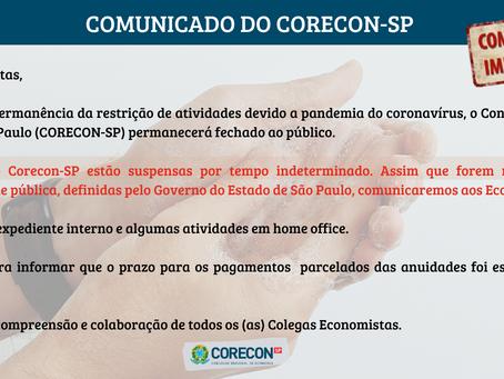 Comunicado importante a respeito das atividades do Corecon-SP durante a pandemia