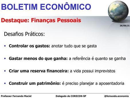 Boletim Econômico - Destaque: Finanças Pessoais, por Fernando Maciel