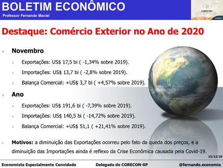 Boletim Econômico: Comércio Exterior no Ano de 2020, por Professor Fernando Maciel